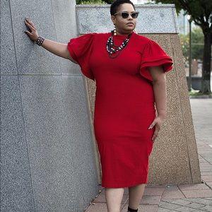 Dresses & Skirts - Ruffle Sleeve Scuba Dress - Size 2XL